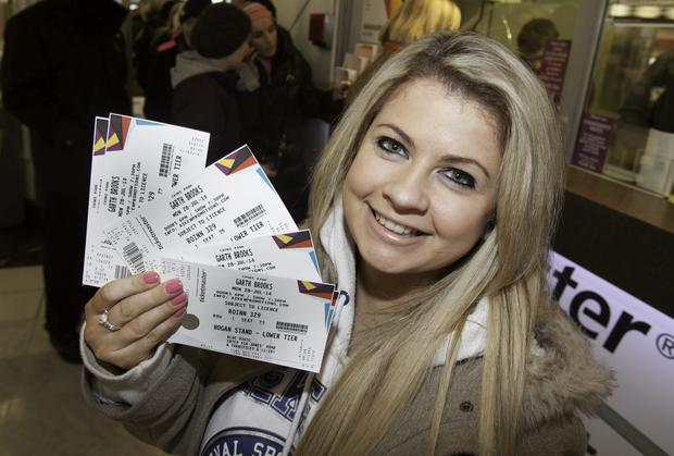 Garth Brooks fan Christine Doherty from Donegal after queueing for tickets outside Stephens Green Shopping Centre, Dublin. Photo: Gareth Chaney Collins