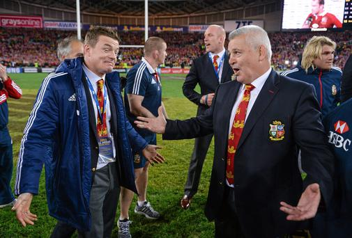 Gatland and O'Driscoll after the Lions completed a series victory against Australia last July with the Irishman having been dropped from the match-day squad