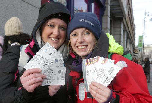 Delighted: Fans Eimear Jordan and Sarah Kidd