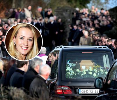 Mourners attending the funeral mass of Lucy Anne Stack, inset, at St Ultans Church Rathcore, Enfield, Co Meath