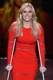 NEW YORK, NY - FEBRUARY 06: Lindsey Vonn walks the runway wearing Cynthia Rawley at Go Red For Women - The Heart Truth Red Dress Collection 2014 Show Made Possible By Macy's And SUBWAY Restaurants at The Theatre at Lincoln Center on February 6, 2014 in New York City. (Photo by Frazer Harrison/Getty Images)