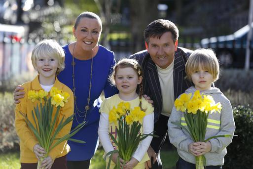Repro Free: 07/02/2014 We won't give up until cancer does. Majella & Daniel O'Donnell are pictured with Angus Oliver, Ruby Mason and Jack Temple the children of some Dell employees as they officially launch the Irish Cancer Society's 27th Daffodil Day. Daffodil Day, supported by Dell, takes place on Friday 28th March. To get involved, Callsave 1850 60 60 60 or visit www.cancer.ie/daffodilday<http://www.cancer.ie/daffodilday> Picture Andres Poveda