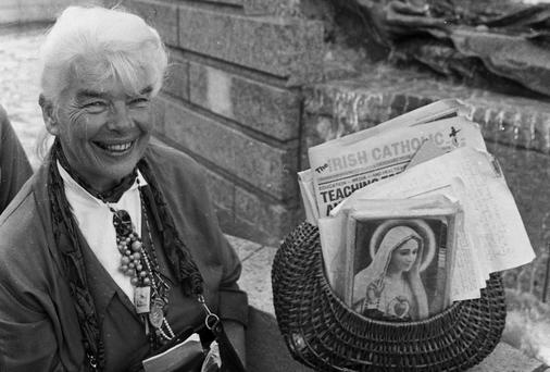 Mary Margaret Dunne beside the Anna Livia statue on Dublin's O'Connell Street in June 1988. Picture: Tom Burke