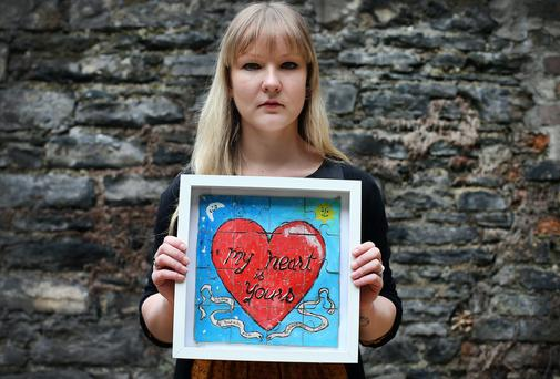 Sarah Bracken had pieces of this jigsaw puzzle individually mailed to her over months from her now fiance. Picture: STEVE HUMPHREYS