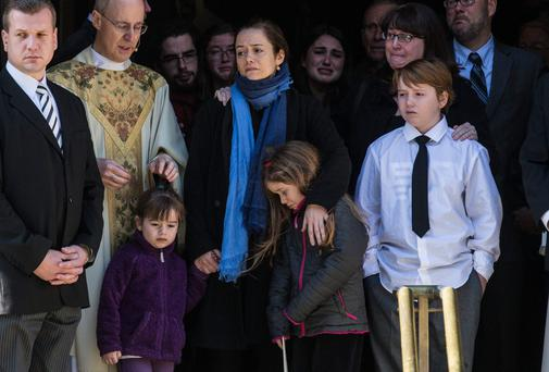 Philip Seymour Hoffman's long time partner Mimi O'Donnell with their children Willa Hoffman, Tallulah Hoffman and Cooper Hoffman at the actor's wake
