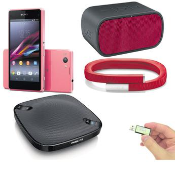 Clockwise from left: The Sony Xperia Z1 Compact, Logitech UE Mini-boom and the Jawbone Up Wristband