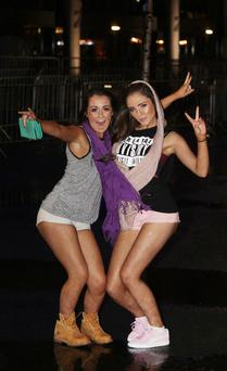 Fans Louise Kenny and Kerry Dunne arriving to I Am Hardwell world tour at The O2 in Dublin