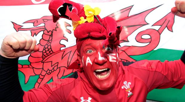 Welsh fan Dai Williams in Dublin City centre today. Picture; GERRY MOONEY.