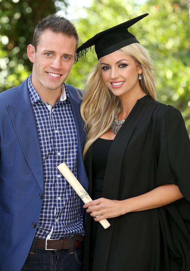 Rosanna Davison pictured with fiance Wesley Quirke in Griffith College where she graduated from the College of Naturopathic medicine as a Nutrional Therapist. Picture: Gerry Mooney