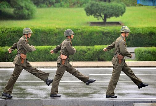 North Korean soldiers on the march