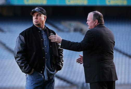 Singer Garth Brooks with GAA President Liam O'Neill at Croke Park