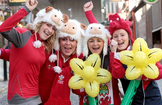 Welsh fans Tania Perry, Sharon Williams, Julie Mees and Lauren Yeoman