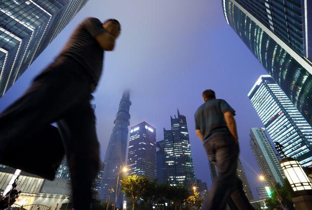 Commercial buildings including the Shanghai Tower in the Lujiazui district of Shanghai, China.