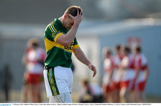 9 February 2014; Stephen O'Brien, Kerry, reacts after defeat to Derry. Allianz Football League, Division 1, Round 2, Kerry v Derry, Fitzgerald Stadium, Killarney, Co. Kerry. Picture credit: Diarmuid Greene / SPORTSFILE