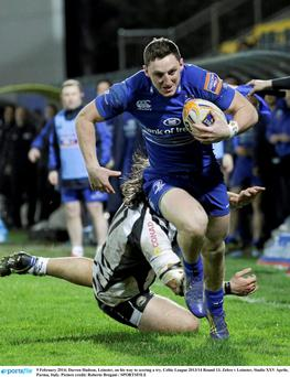 Darren Hudson, Leinster, on his way to scoring a try