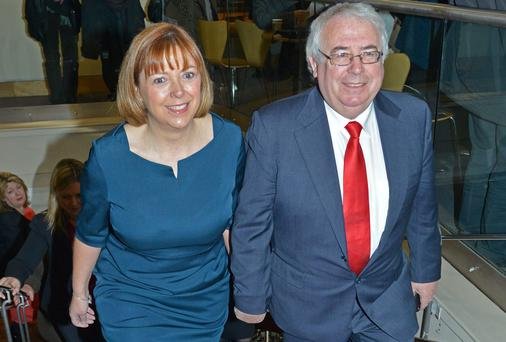 MEP Emer Costello arrives hand in hand with her husband Joe Costello for the selection. Photo: Barbara Lindberg.
