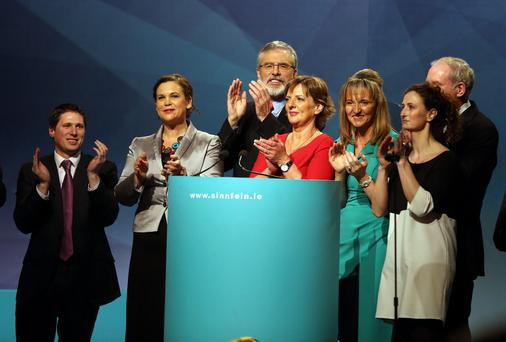 Sinn Fein President Gerry Adams, with party colleagues at the Sinn Fein Ard Fheis in Wexford
