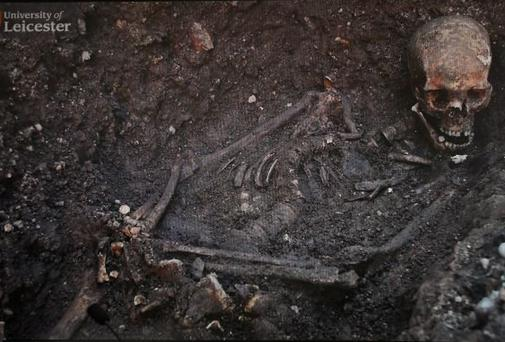 The skeletal remains of King Richard III, found in a car park in Leicester, England.