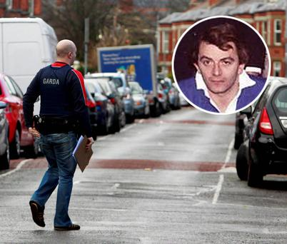 Gardai at the scene in Terenure, Dublin; Inset: Cathal Sweeney in his rugby days