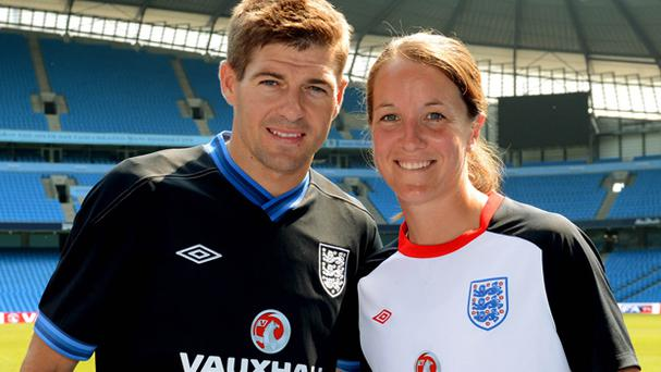 Casey Stoney pictured with Steven Gerrard