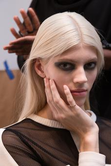 A model poses JINsoon Nails backstage during JINsoon at Derek Lam Fall/Winter 2014 at Sean Kelly Gallery on February 9, 2014 in New York City. (Photo by Anna Webber/Getty Images for JINsoon)