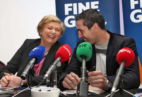 10/02/14 Former Olympic boxer, Kenneth Egan pictured with Minister for Children, Frances Fitzgerald at the Louis Fitzgerald Hotel, Dublin this afternoon where he declared his intention to run for Fine Gael in the forthcoming local elections.. Picture Colin Keegan, Collins Dublin.
