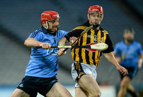 Ryan O'Dwyer, Dublin, in action against Tommy Walsh, Kilkenny