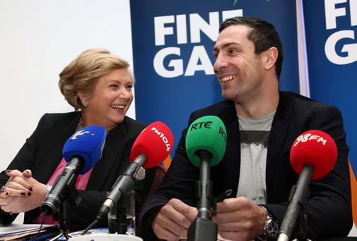 Kenneth Egan with Minister for Children Frances Fitzgerald at the Louis Fitzgerald Hotel, Dublin, where he declared his intention to run for Fine Gael in the forthcoming local elections. Picture: Colin Keegan, Collins Dublin.
