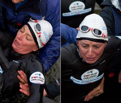 An exhausted Davina McCall is carried from Lake Windermere in the Lake District after tackling a gruelling, chilling 1.5 mile swim