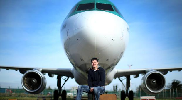 Johnny Sexton was In Dublin Airport yesterday where he was unveiled as an Aer Lingus ambassador