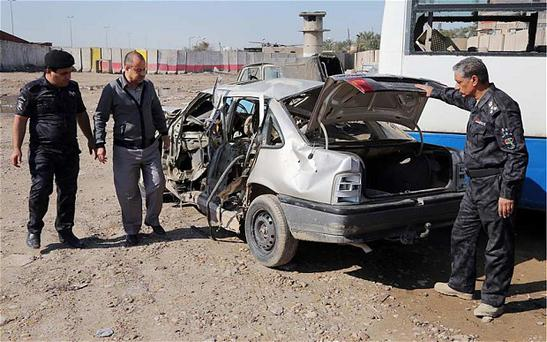 A recent file photo of a car bomb detonated in Baghdad.