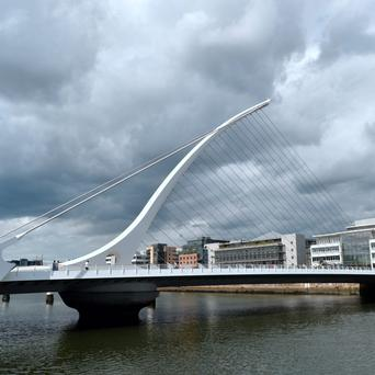 Samuel Beckett Bridge (connects Guild Street to Sir John Rogerson's Quay, Dublin). Picture: Caroline Quinn