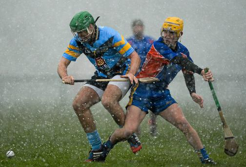 William Egan, University College Dublin, in action against Colm Galvin, Mary Immaculate College Limerick