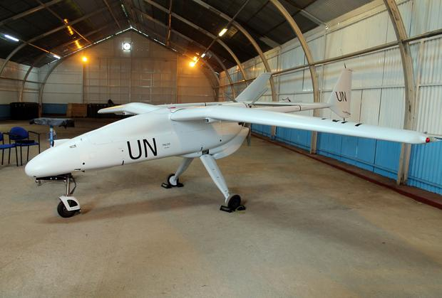An Italian-made surveillance drone belonging to the UN's MONUSCO peacekeeping mission in the Democratic Republic of Congo