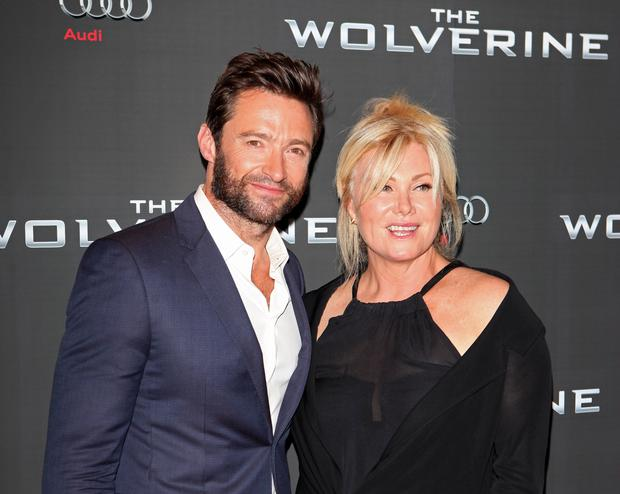 Hugh Jackman (L) and wife Deborra-Lee Furness
