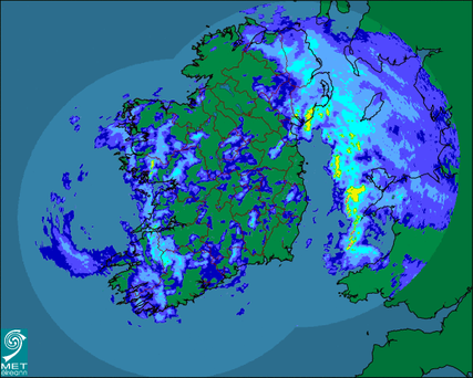 This morning's rainfall chart from Met Eireann
