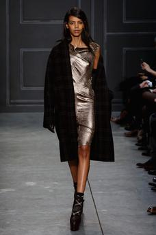 A model walks the runway at the Vera Wang Collection fashion show during Mercedes-Benz Fashion Week Fall 2014 at Dia Center