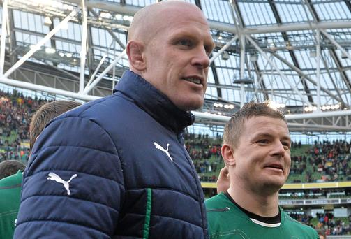 Ireland captain Paul O'Connell, left, and Brian O'Driscoll , during the 2014 Six Nations