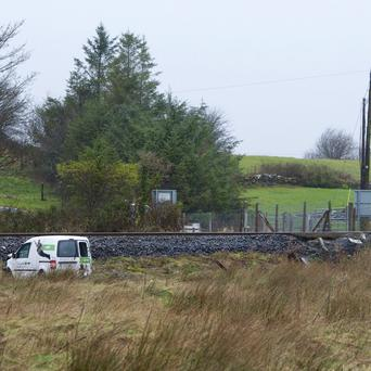 The scene at Ballyvary, Castlebar, Co. Mayo where an An Post Van was struck by a train. Photo : Keith Heneghan / Phocus.