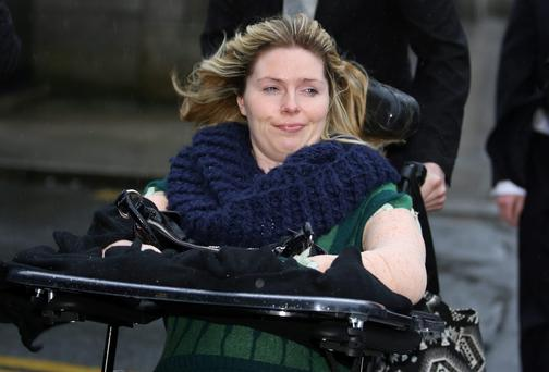 Lydia Branley leaving court after she settled her High Court action for €10m. COLLINS