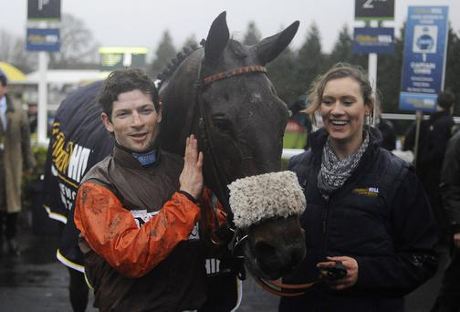 Sam Waley-Cohen poses after riding Long Run to a King George victory in 2012
