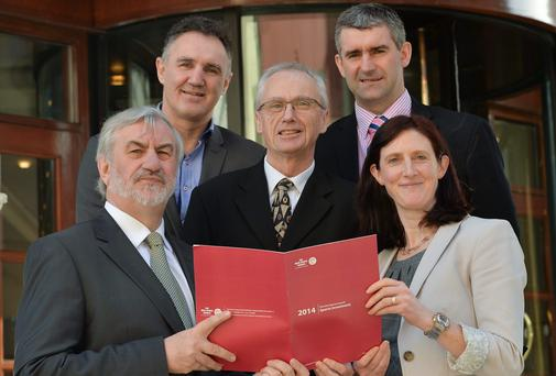 John Treacy, CEO Irish Sports Council, with, from left, Kieran Mulvey, Chairman of the Irish Sports Council, Billy Walsh, Ireland Boxing coach, Liam Sheedy, Chairperson of High Preformance Committee and Dr Úna May, Director of Anti-Doping with the Irish Sports Council