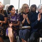 (L-R) Actors Blake Lively, Freida Pinto, Rose Byrne and Michael Douglas attend the Michael Kors fashion show during Mercedes-Benz Fashion Week Fall 2014 at Spring Studios