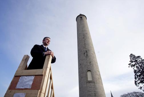 Brian Hayes, TD, Minister of State at the announcement of the restoration of the internal stairway in the O'Connell Tower Monument at Glasnevin cemetery, Dublin. Picture: Chris Bellew / Fennells
