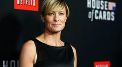 Cast member Robin Wright poses at the premiere for the second season of the television series