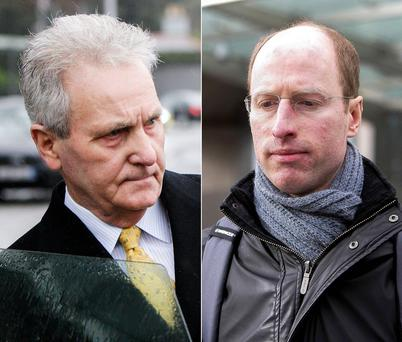 Right: Brian Gillespie, a former senior official with Anglo Irish, leaving court yesterday. Left: John McCabe