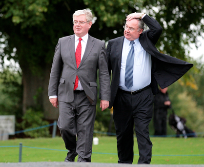 Labour Party leader Eamon Gilmore with Communications Minister Pat Rabbitte