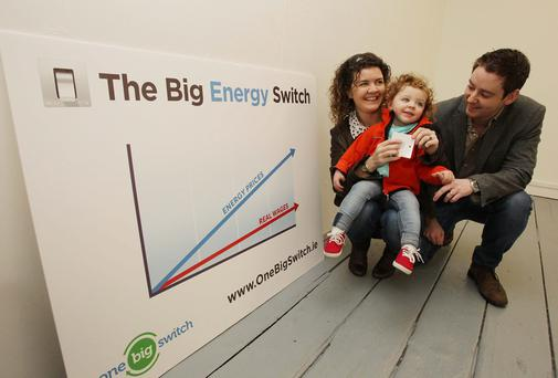 Edwina and Wesley Roddy pictured with daughter Naoise (2) at the One Big Switch, ,a new Irish consumer network witch was launched today in Temple bar Dublin. Picture: Stephen Collins/Collins