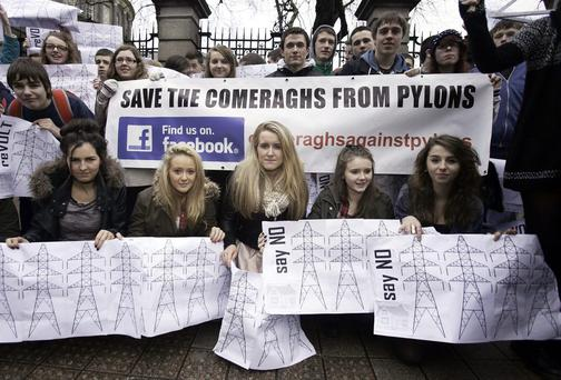 Students & friends of St Declan's Community College Kilmacthomas Waterford protesting over pylons outside Leinster House, Dublin. Photo: Gareth Chaney Collins
