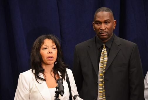 Jordan Davis' parents, Lucia McBath and Ronald Davis speak to the media in Jacksonville, Florida